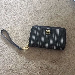 Tory Burch perforated wristlet